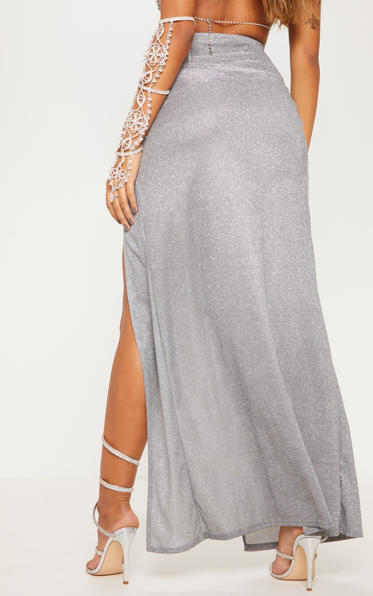 Silver Glitter Side Split Maxi Skirt 5