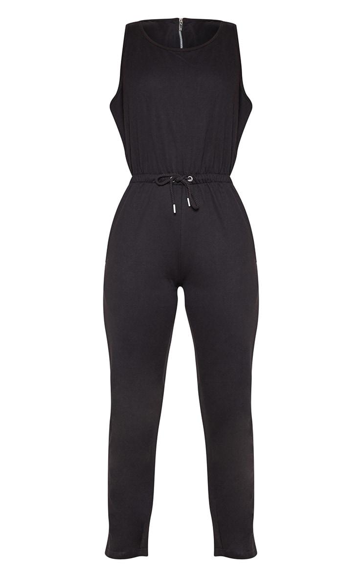 Black Tie Waist Sleeveless Sweat Jumpsuit 3