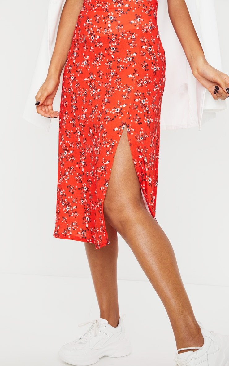 Red Ditsy Floral Floaty Midi Skirt 4
