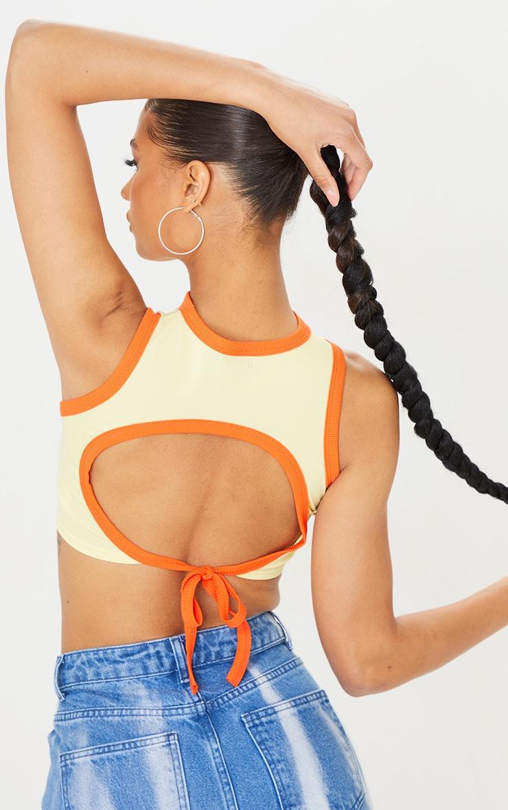 Lemon Rib Print Backless Tie Crop Vest 1