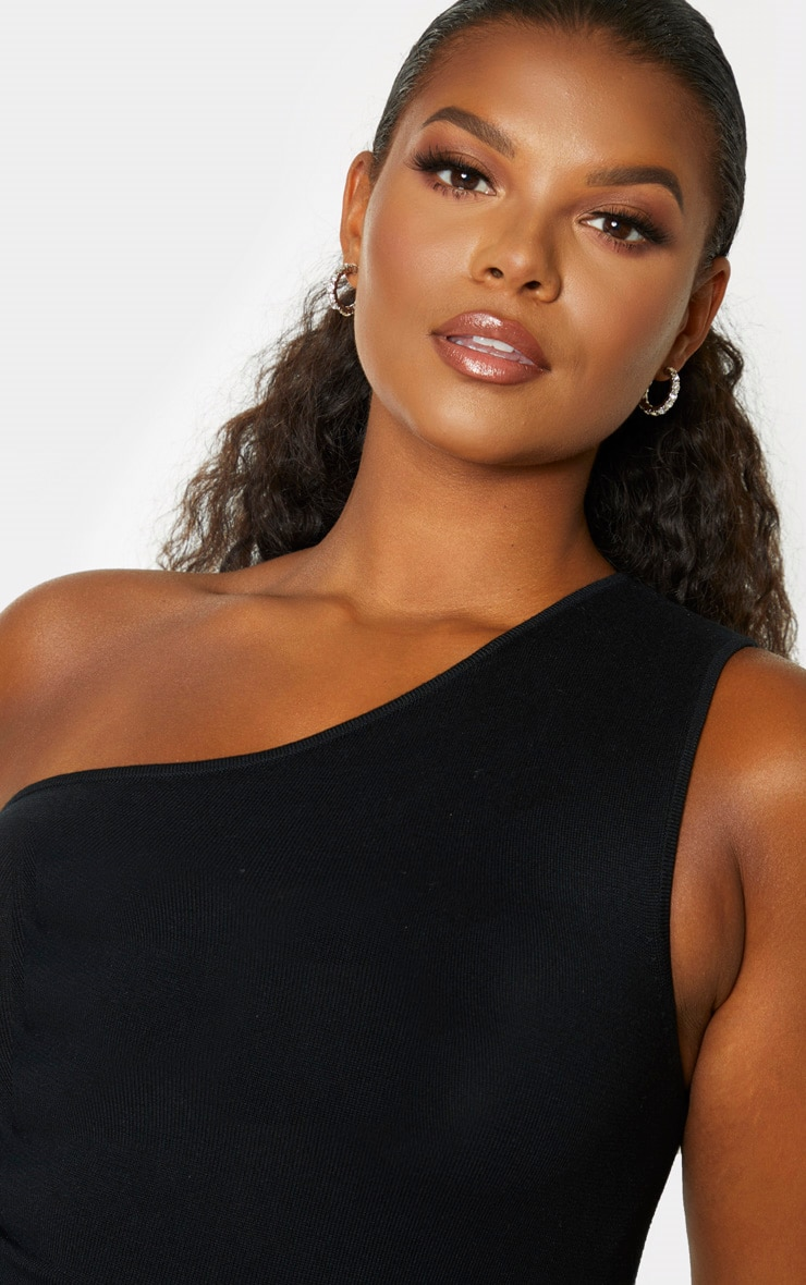 Plus Black Knitted One Shoulder Top 5