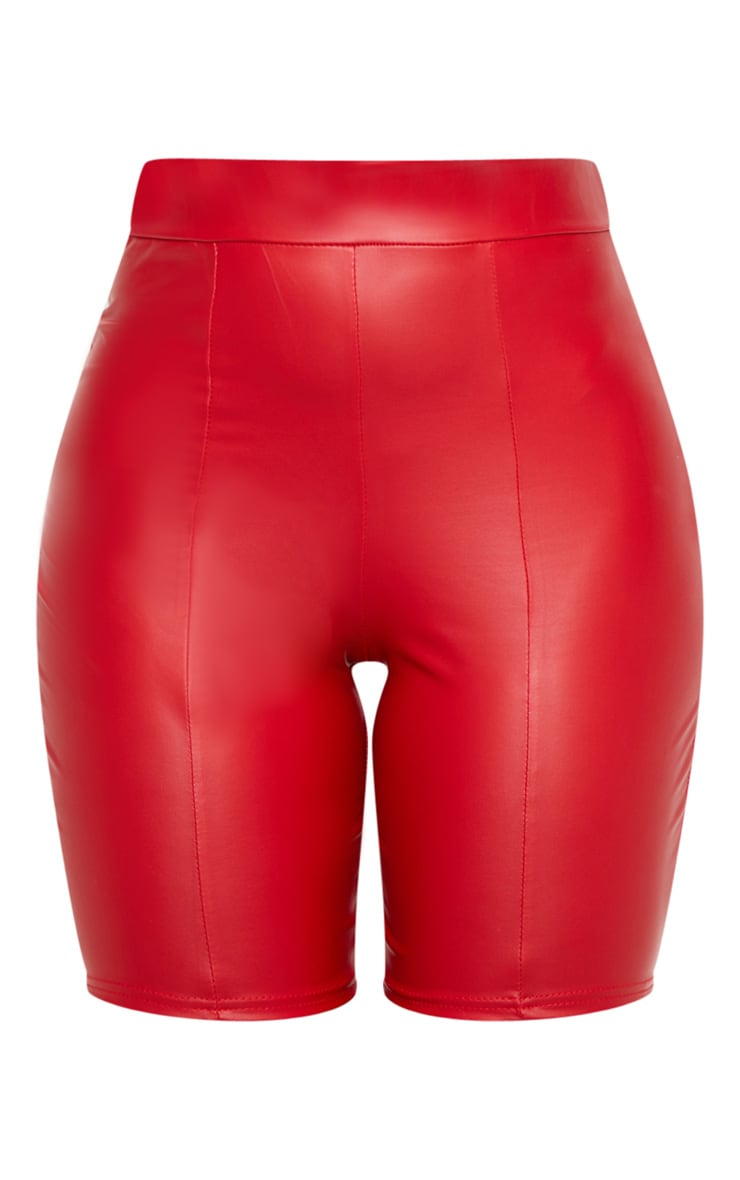 Red Coated Seam Detail Longline Short 3
