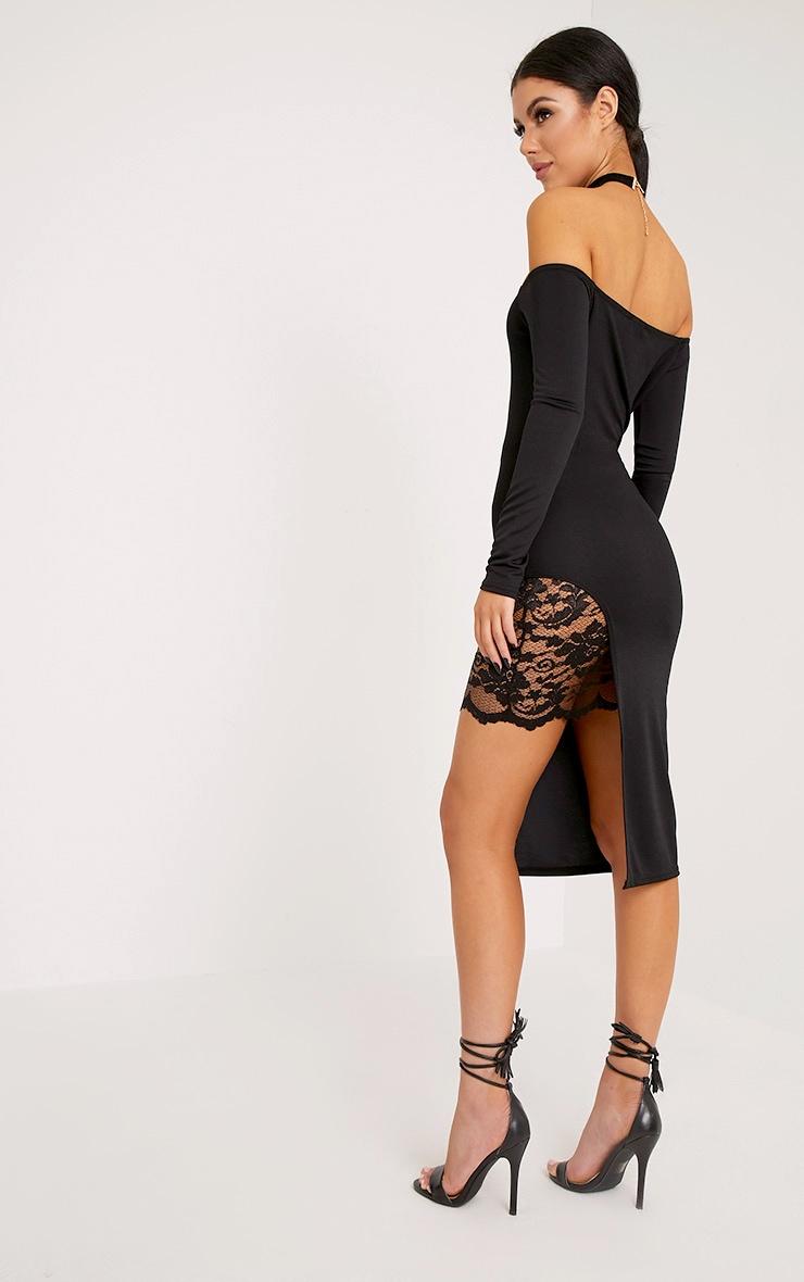 Florrie Black Bardot Lace Panel Midi Dress 2