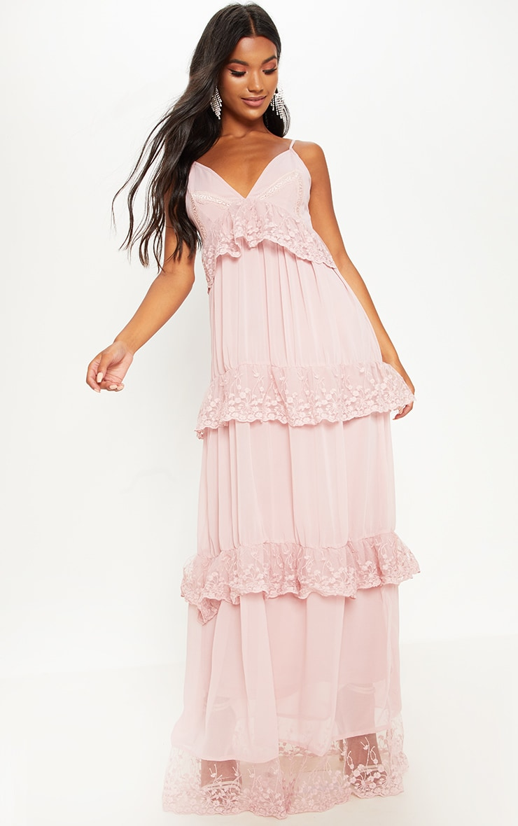 Dusty Pink Lace Frill Detail Maxi Dress 1