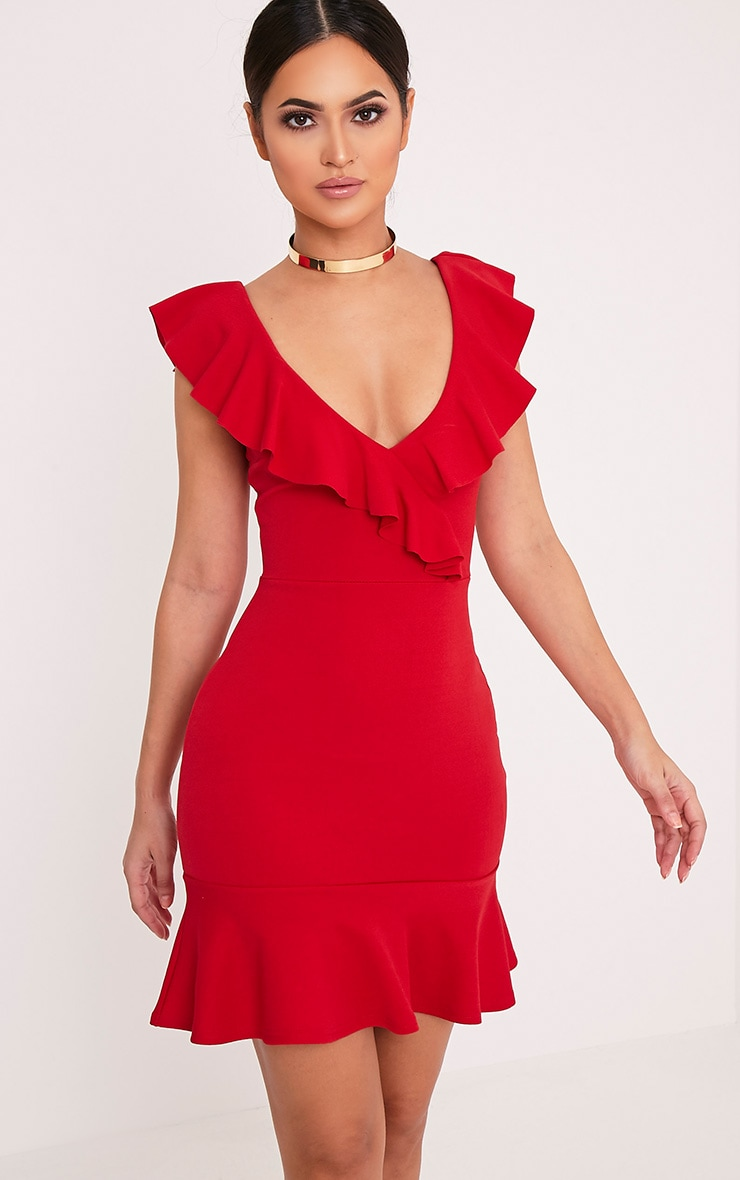Luissi Red Frill Detail Bodycon Dress 1