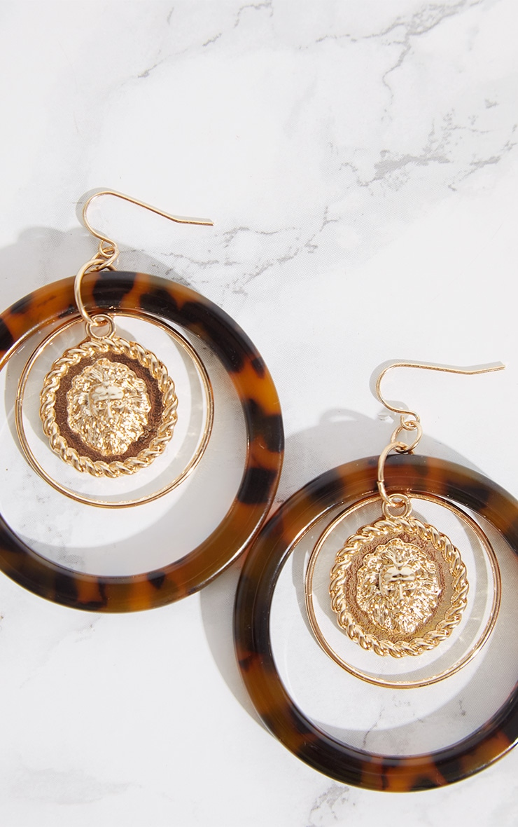 Tortoiseshell Coin Hoop Drop Earrings 4