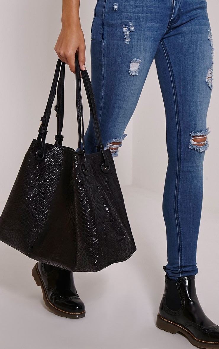 Ashlia Black Snake Print Bucket Bag 1