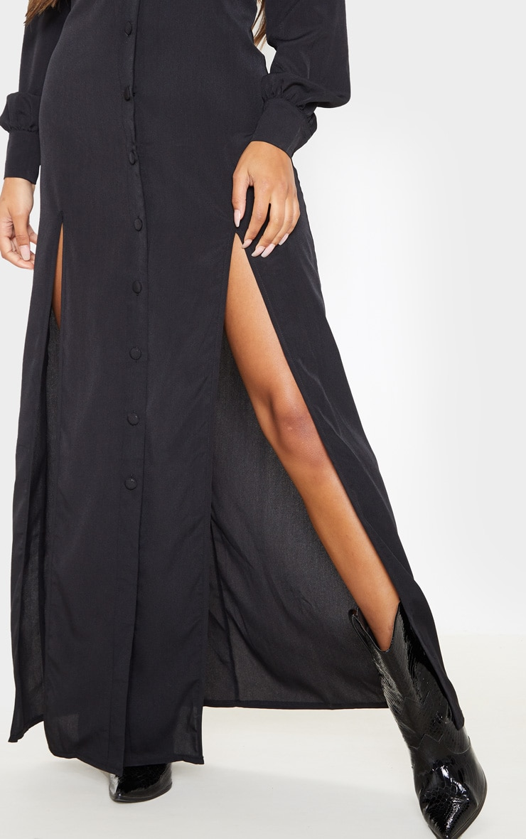 Black Split Front Maxi Shirt Dress 5