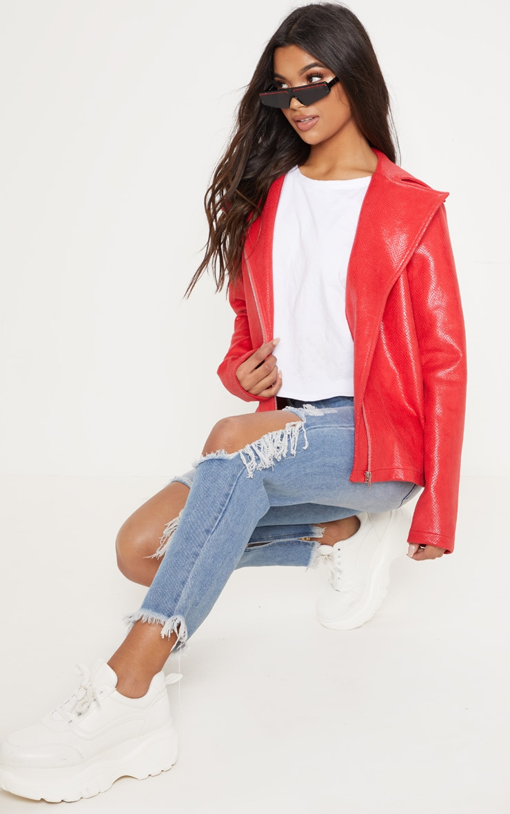 Red Snake PU Biker Jacket  1