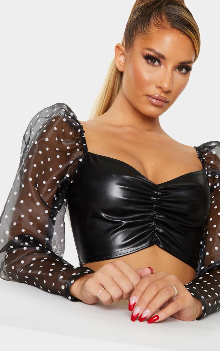 Black Sheer Polka Dot Sleeve PU Bodice Crop Top 4