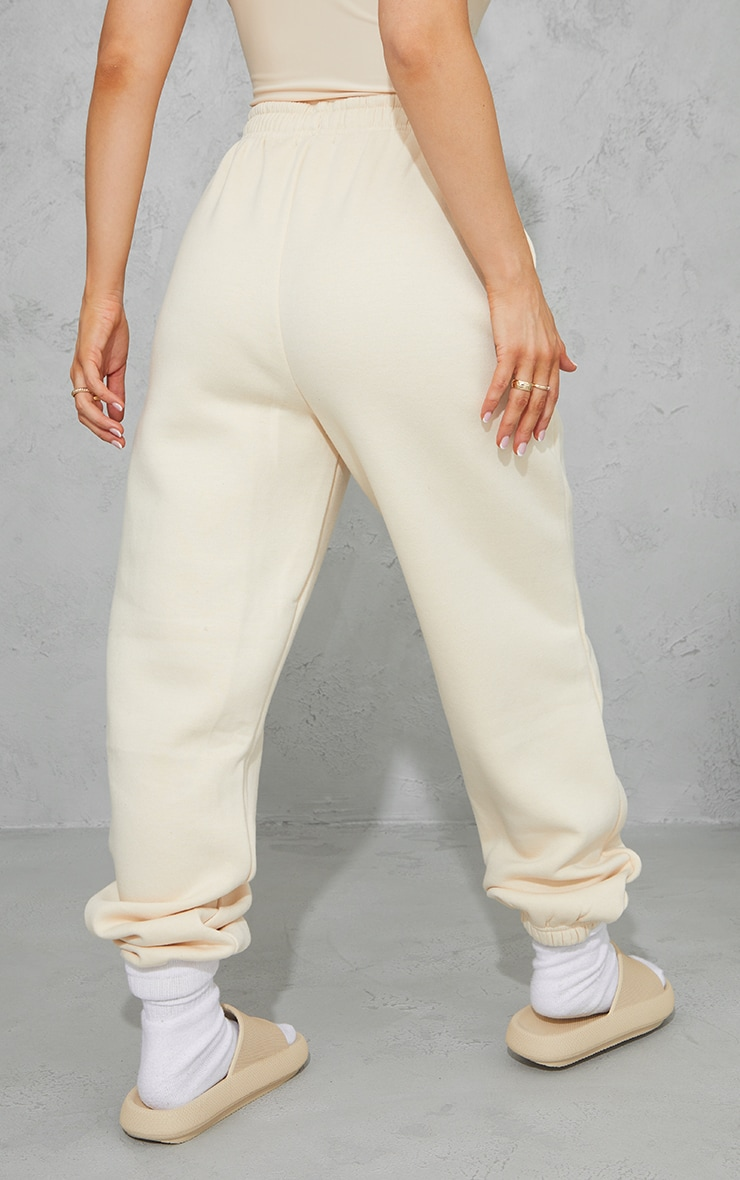 PRETTYLITTLETHING Ecru Block Embroidered Joggers 3
