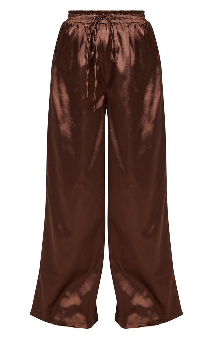 Petite Chocolate Brown Satin Tie Waist Wide Leg Trousers 3