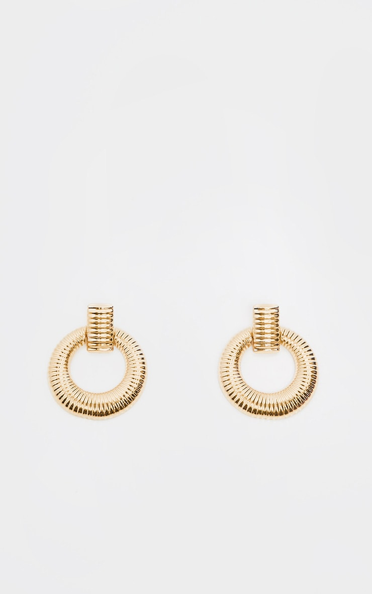 Gold Door Knocker Ribbed Hoops 2