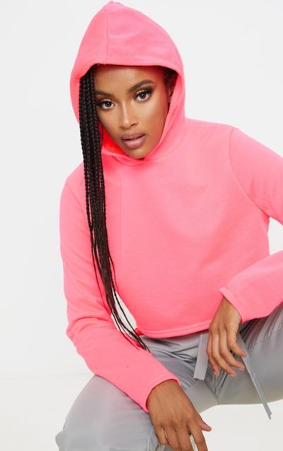 Basic Neon Pink Crop Hoodie