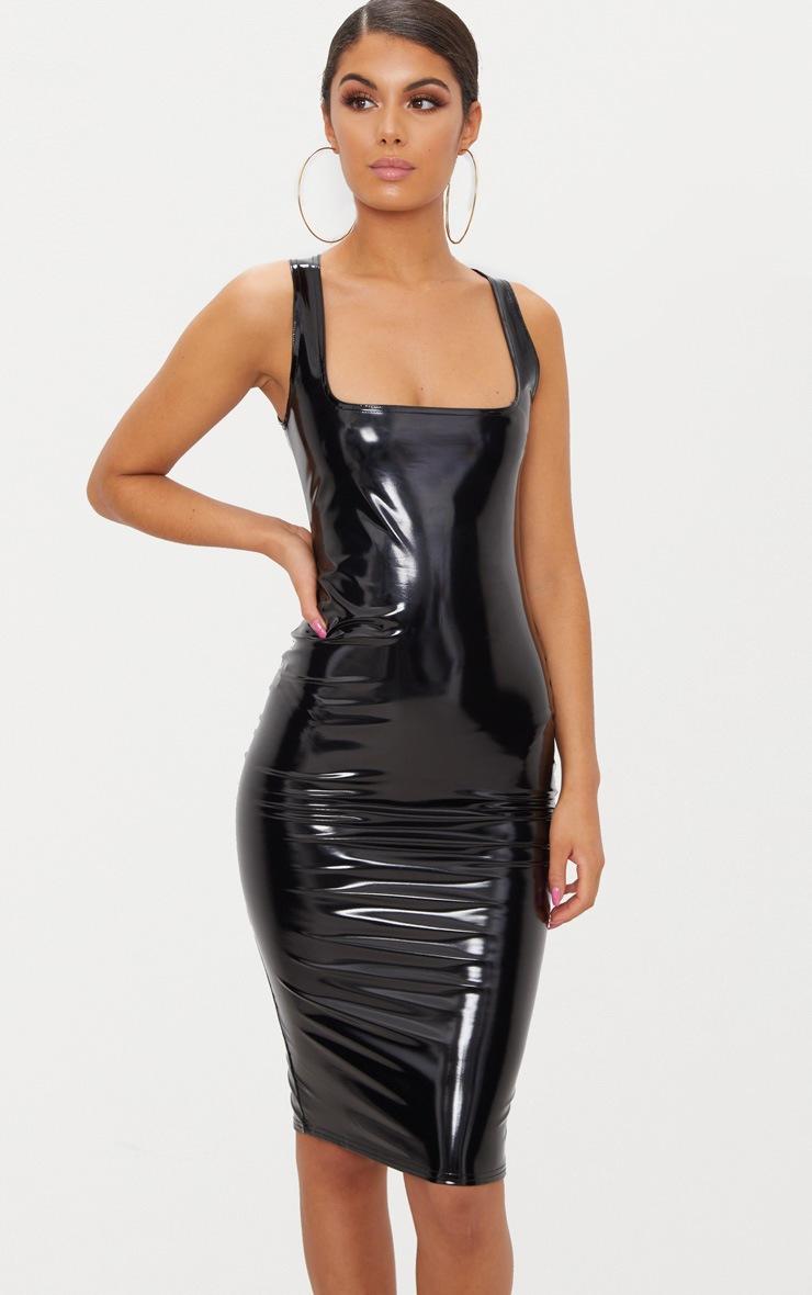 Black Vinyl  Square Neck Midi Dress 4