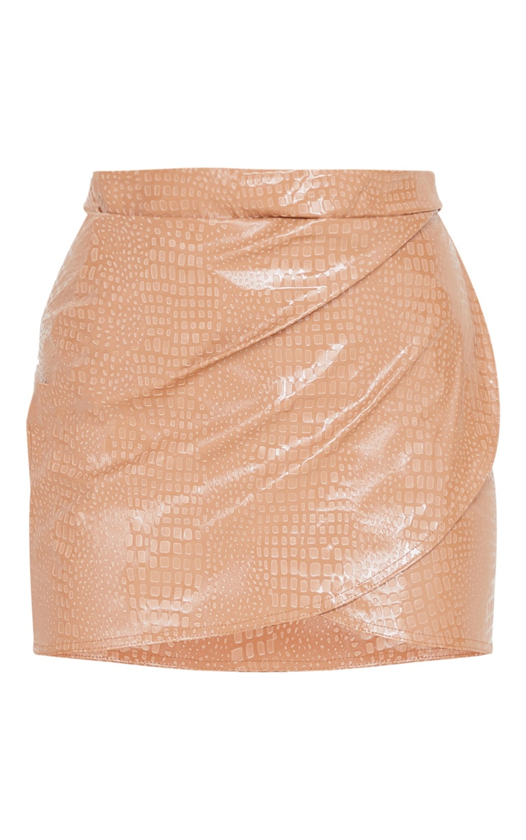 Stone Croc Vinyl Wrap Mini Skirt 3