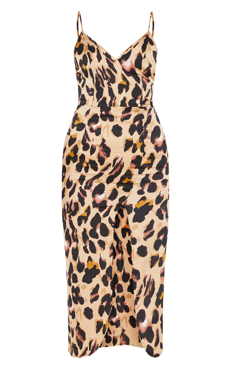 Tan Leopard Print Satin Midi Slip Dress 3