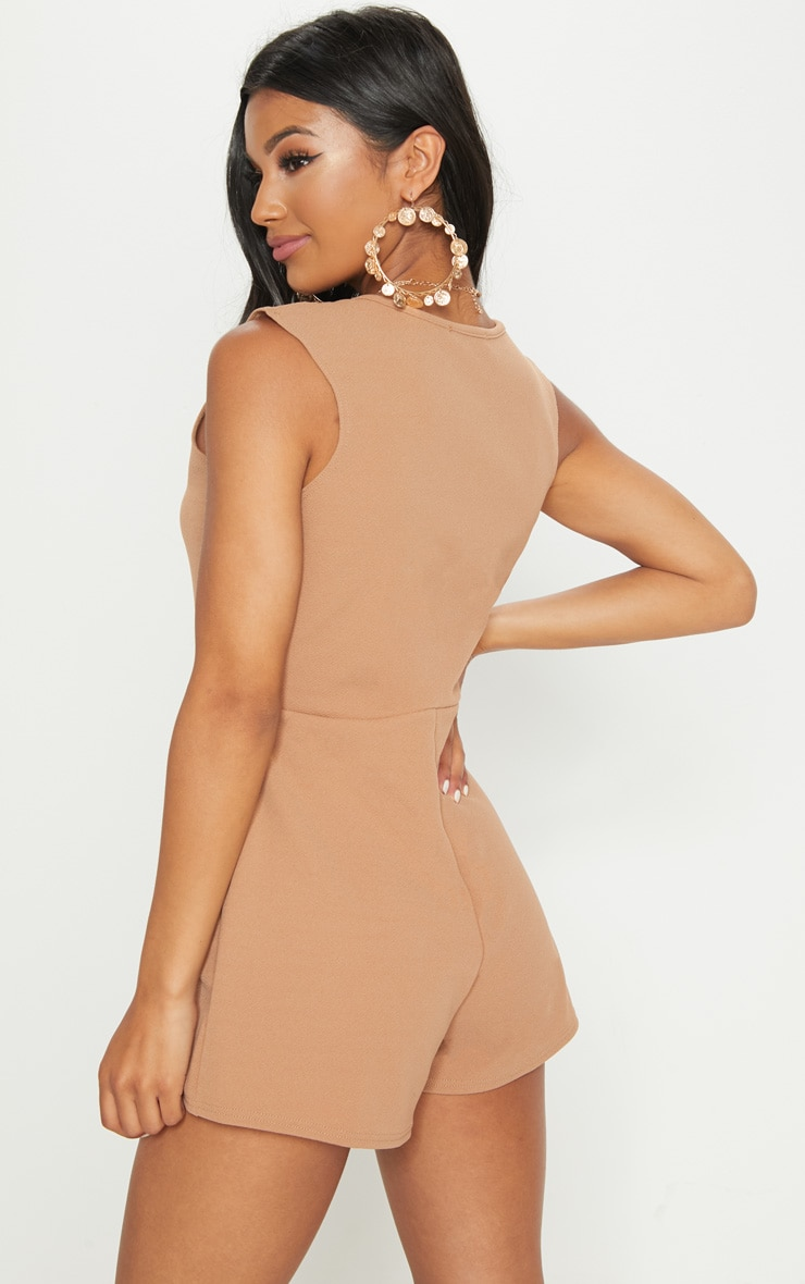 Camel Button Detail Slouchy Playsuit 2