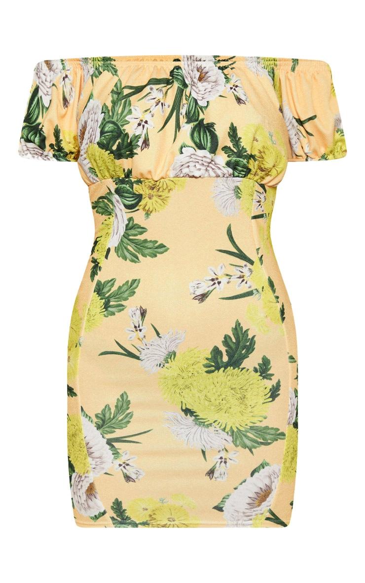 Yellow Floral Print Square Neck Bodycon Dress 3
