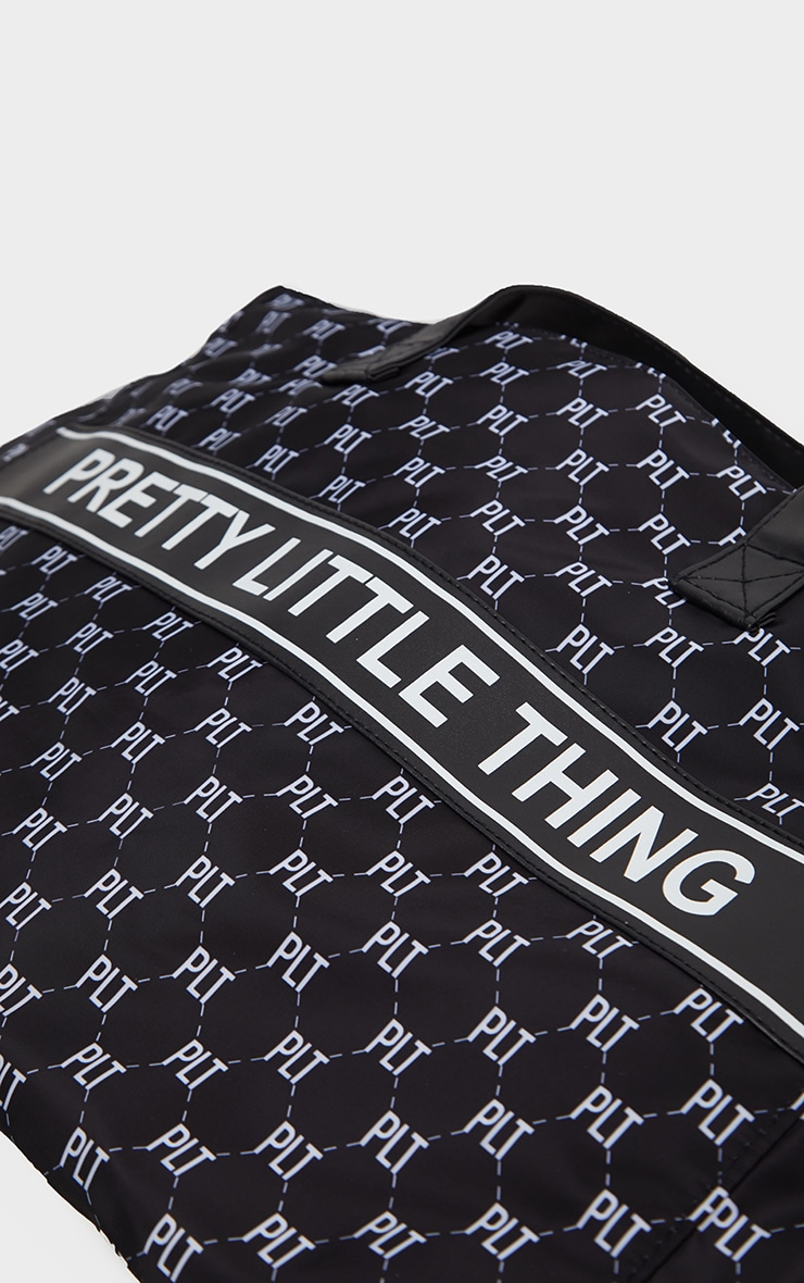 PRETTYLITTLETHING Monogram Monochrome Nylon Tote Bag 3