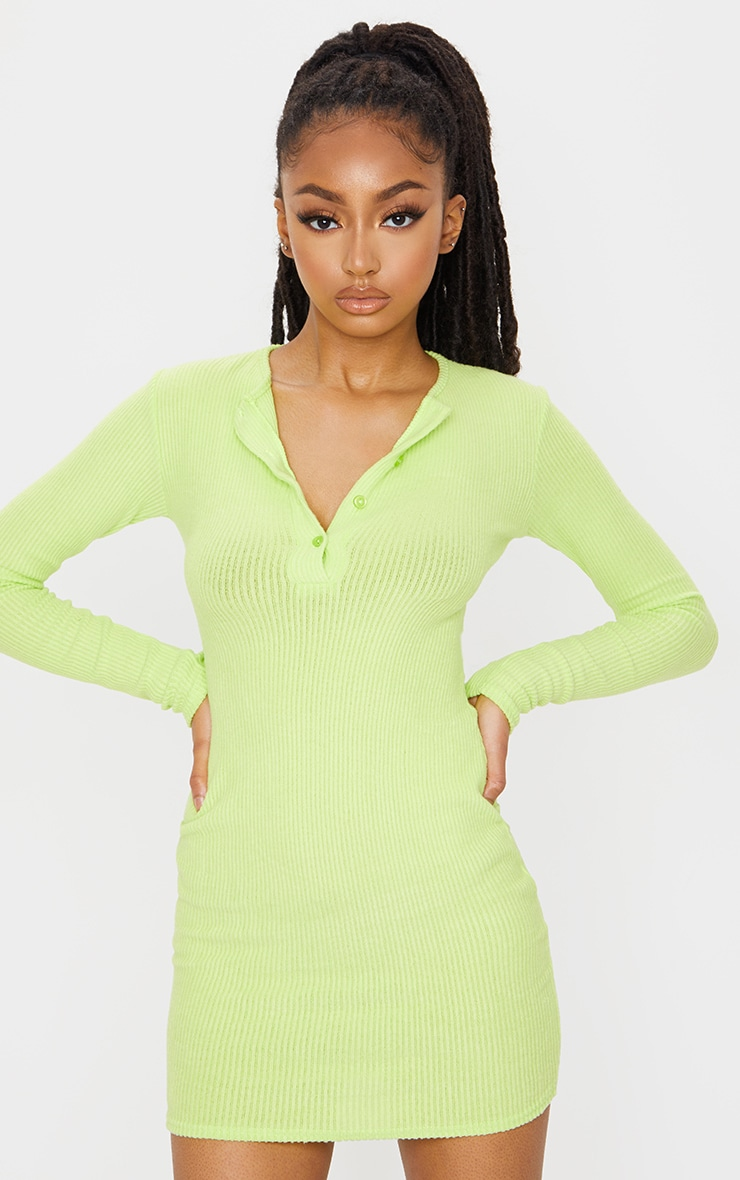 Lime Brushed Rib Long Sleeve Bodycon Dress 3