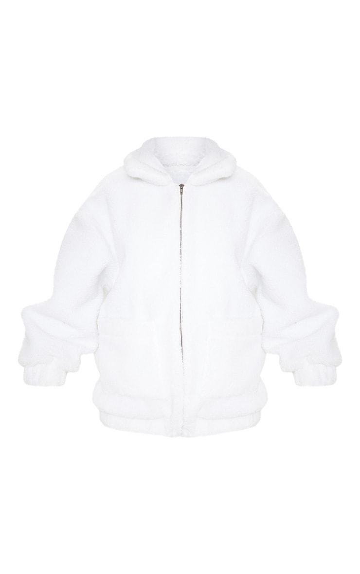 White Oversized Borg Pocket Front Coat 3