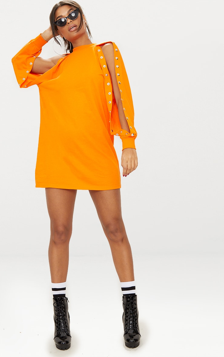 Bright Orange Popper Arm Sweater Dress