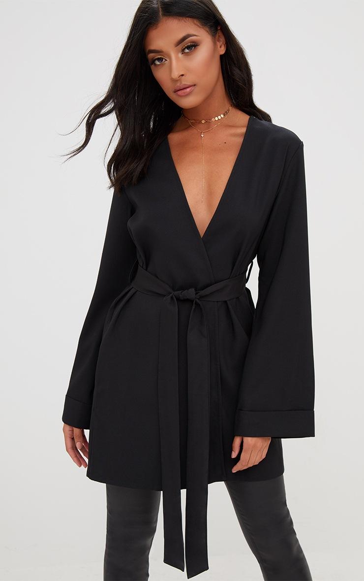 Black Oversized Longline Blazer 4
