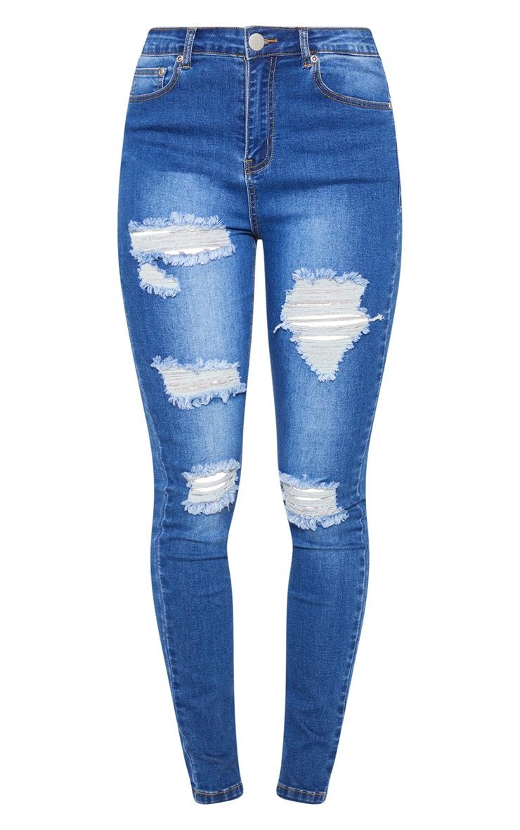 Mid Wash Distressed 5 Pocket Skinny Jean 3