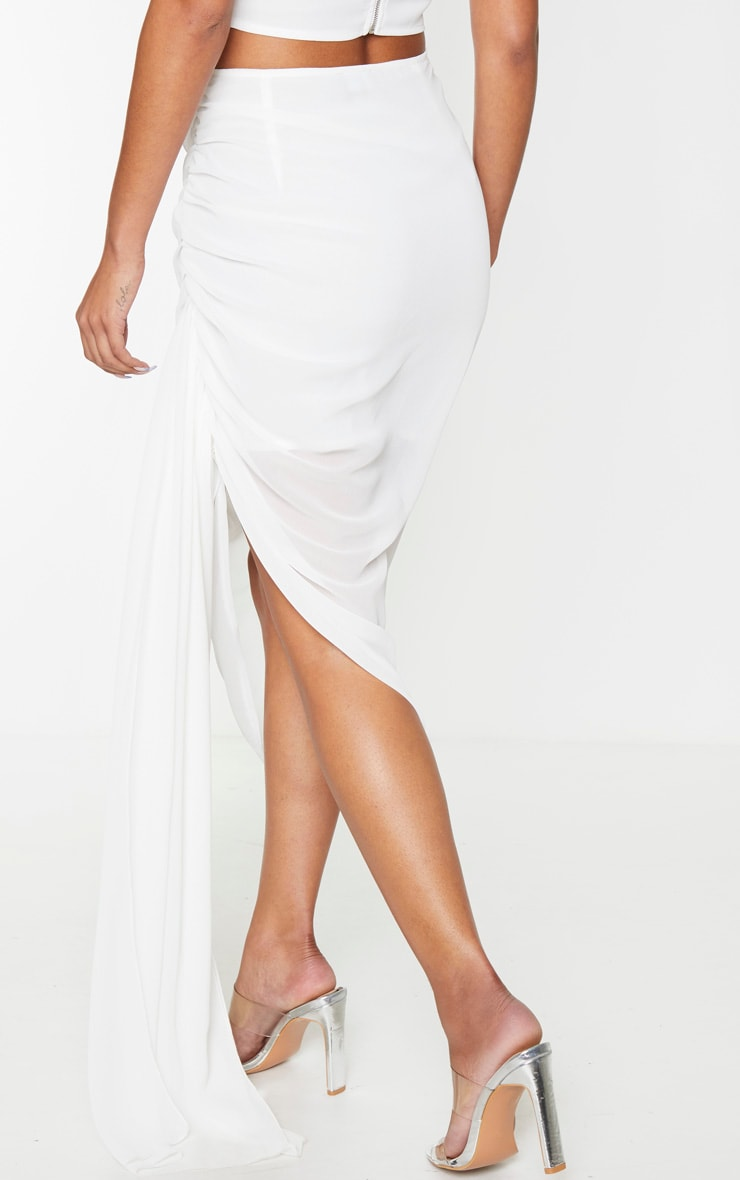 White Woven Ruched Side Panel Midi Skirt 3