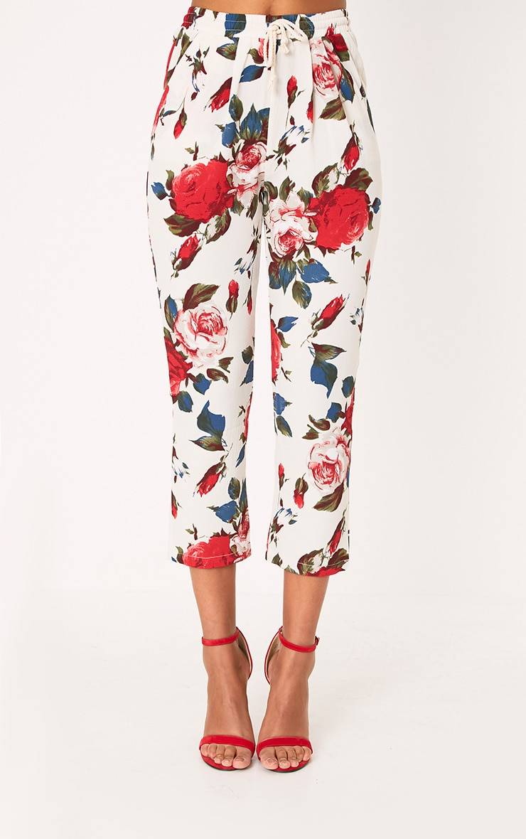 Cream Floral Casual Trousers 2