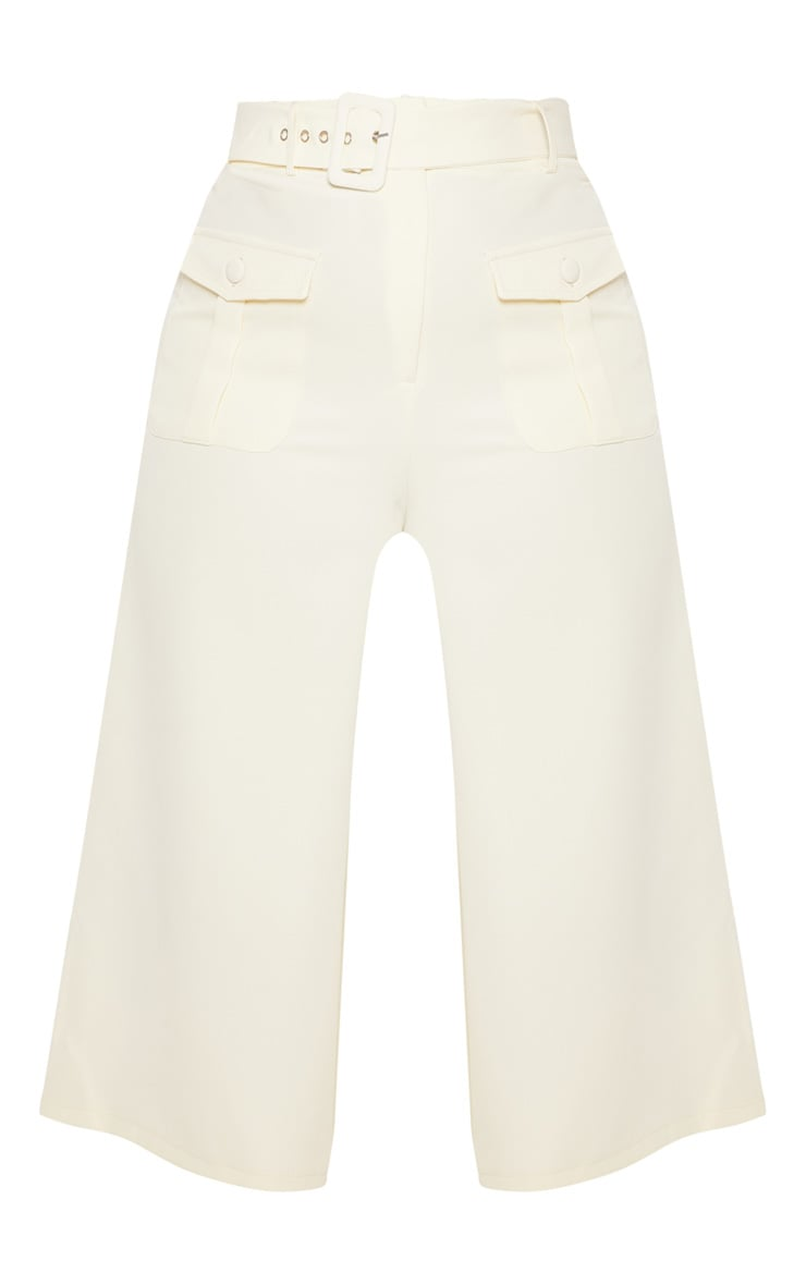 Plus Cream Pocket Detail Belted Culottes  3