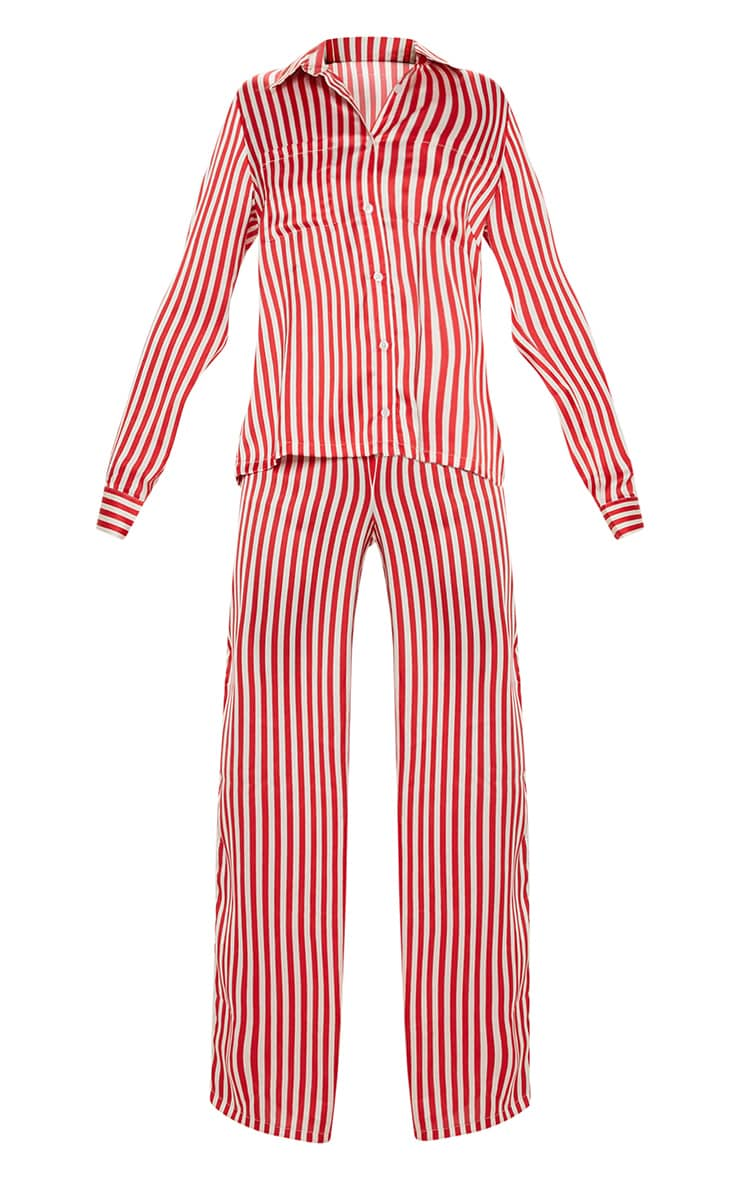 Red & White Stripe Wide Leg PJ Set 3