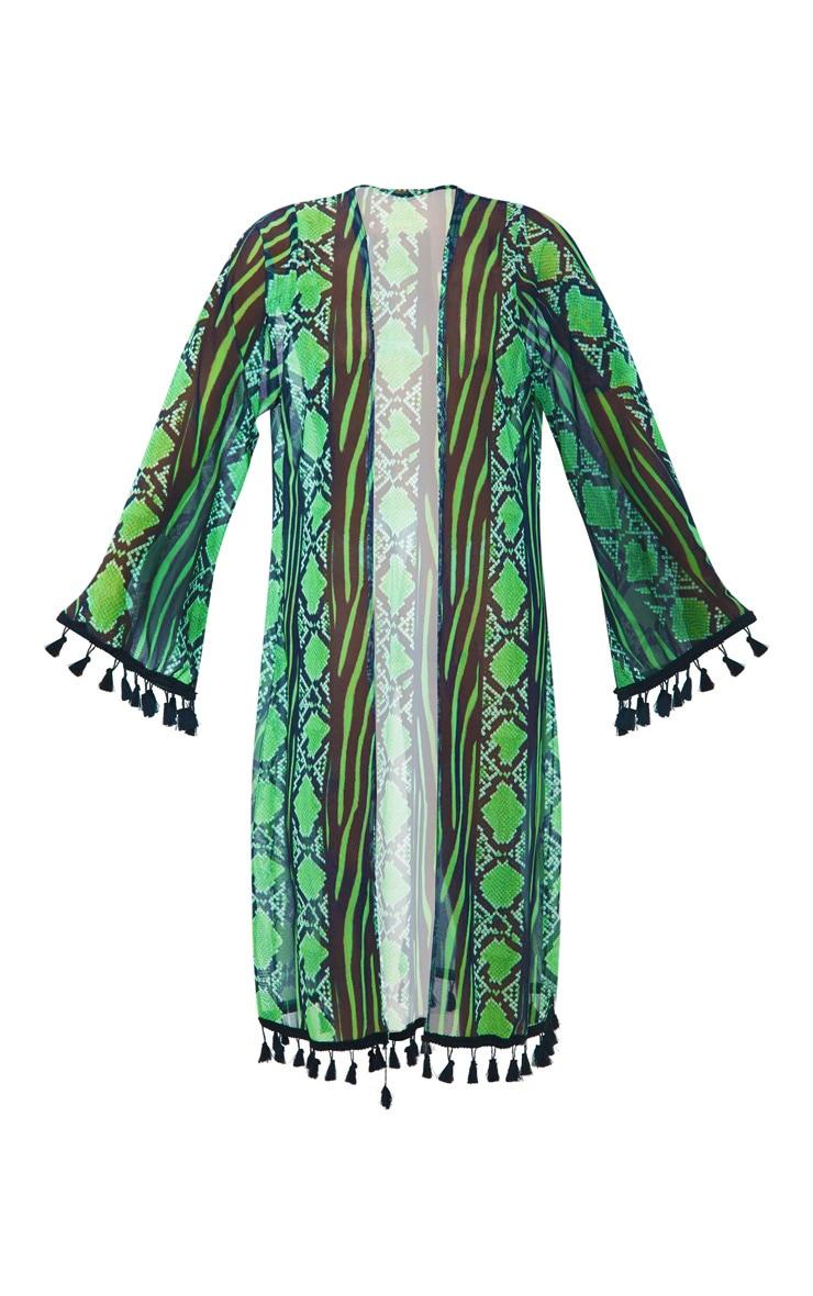Plus Lime Snake Print Mesh Tassel Kimono 3