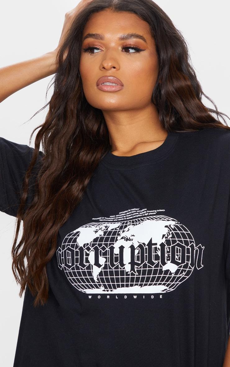 Black Corruption Slogan Oversized T Shirt 1
