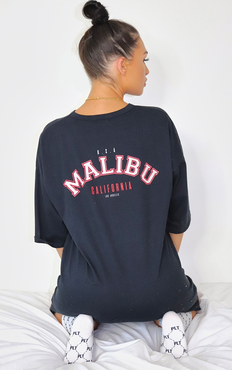 Black Malibu Slogan Boyfriend T Shirt Dress 1