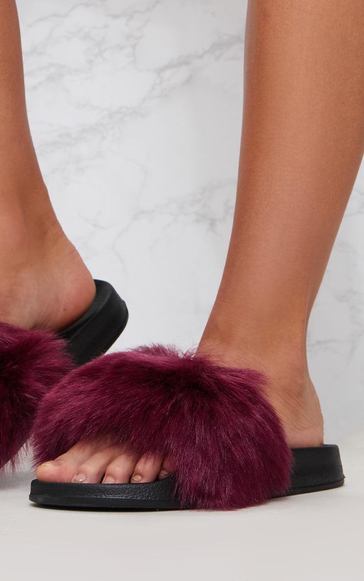 Burgundy Faux Fur Slider 6