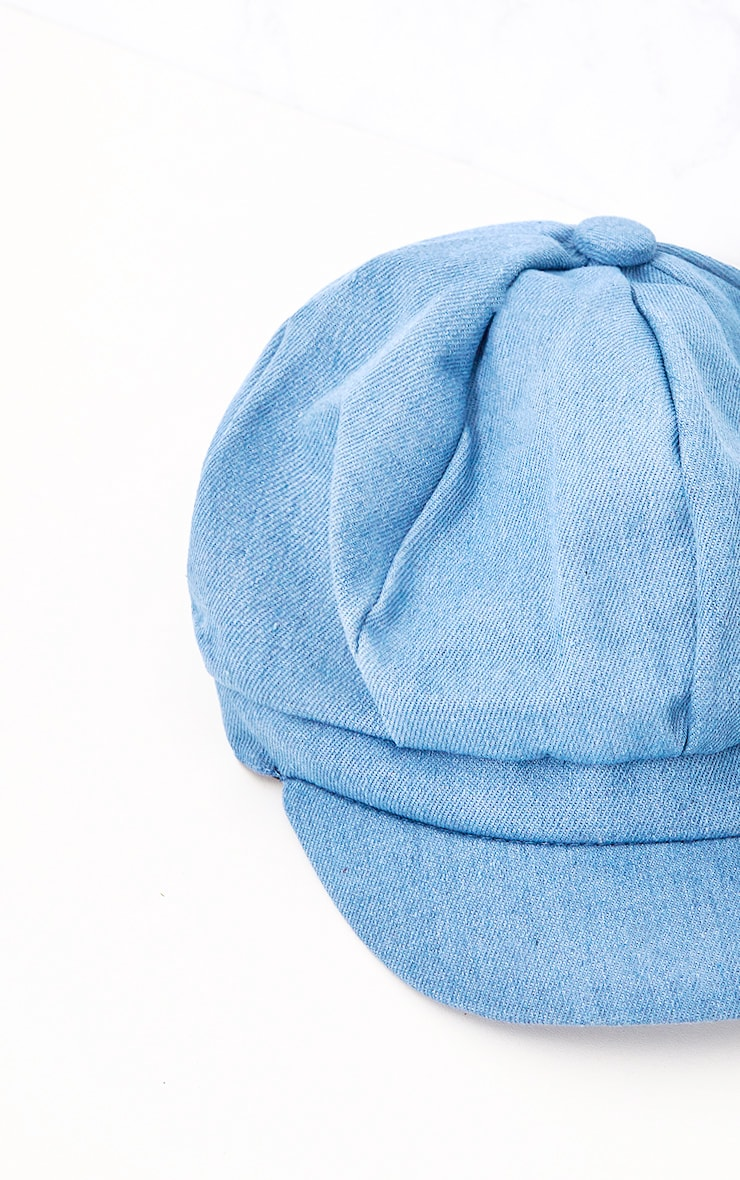 Light Wash Denim Baker Boy Hat 6