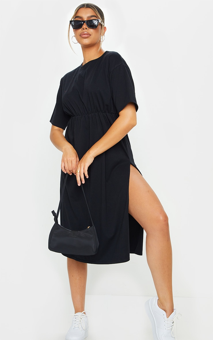 Black T Shirt Split Detail Midi Dress 1