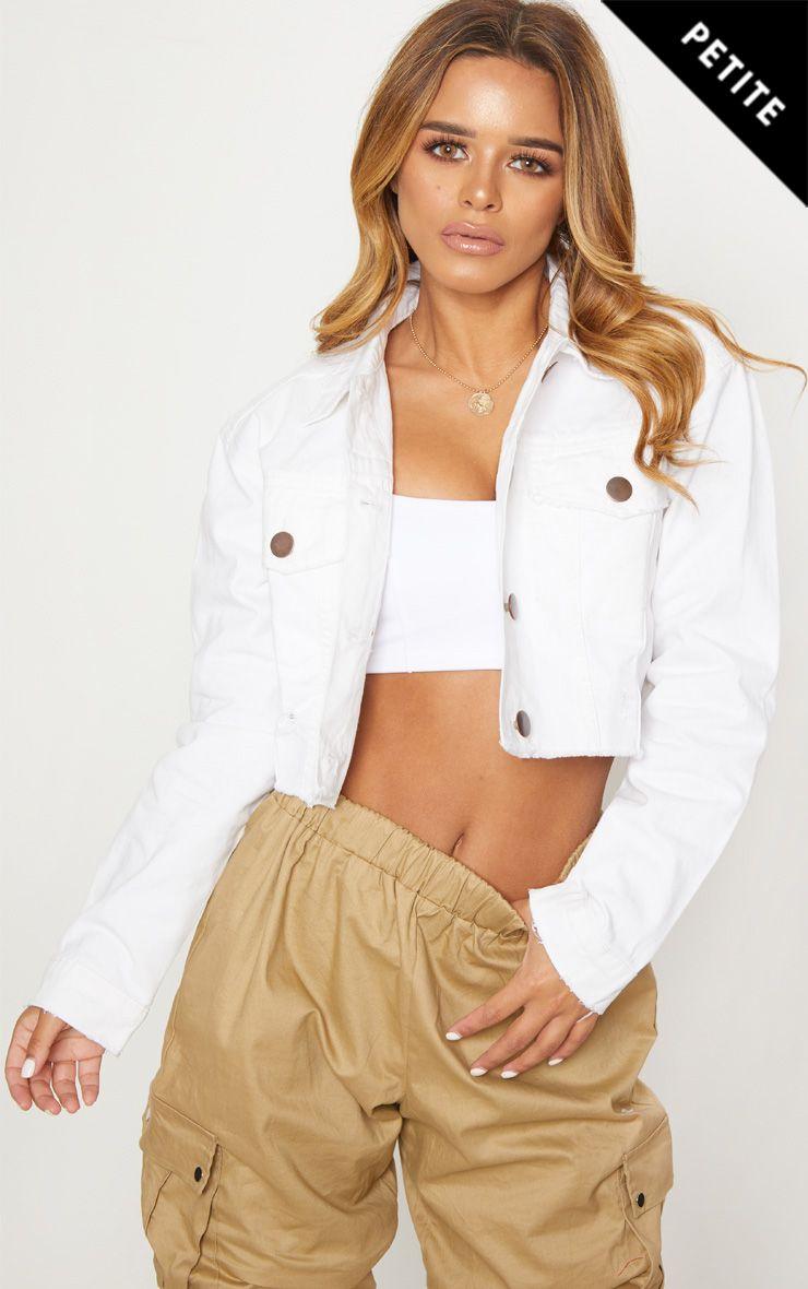 Petite White Raw Edge Cropped Denim Jacket 1