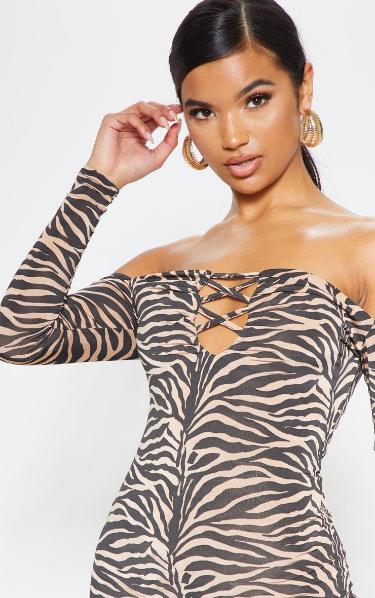 Tan Tiger Print Slinky Lattice Detail Bodycon Dress 5