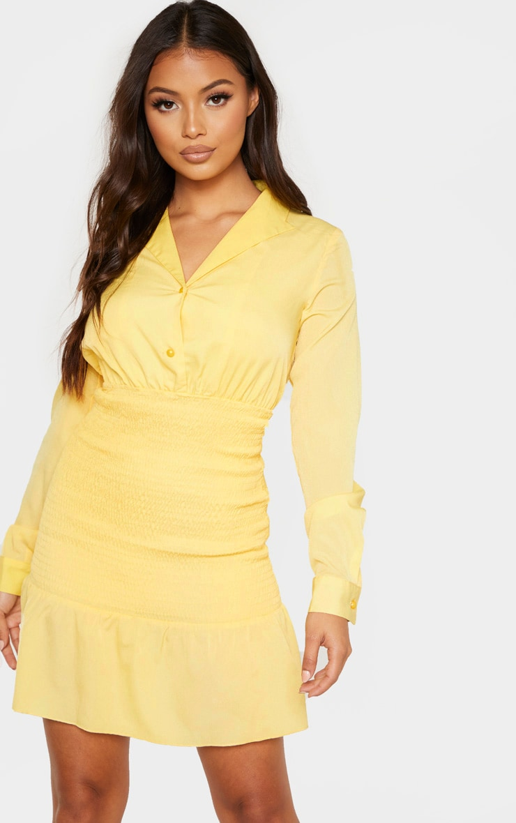Petite Lemon Yellow Shirred Detail Dress 1