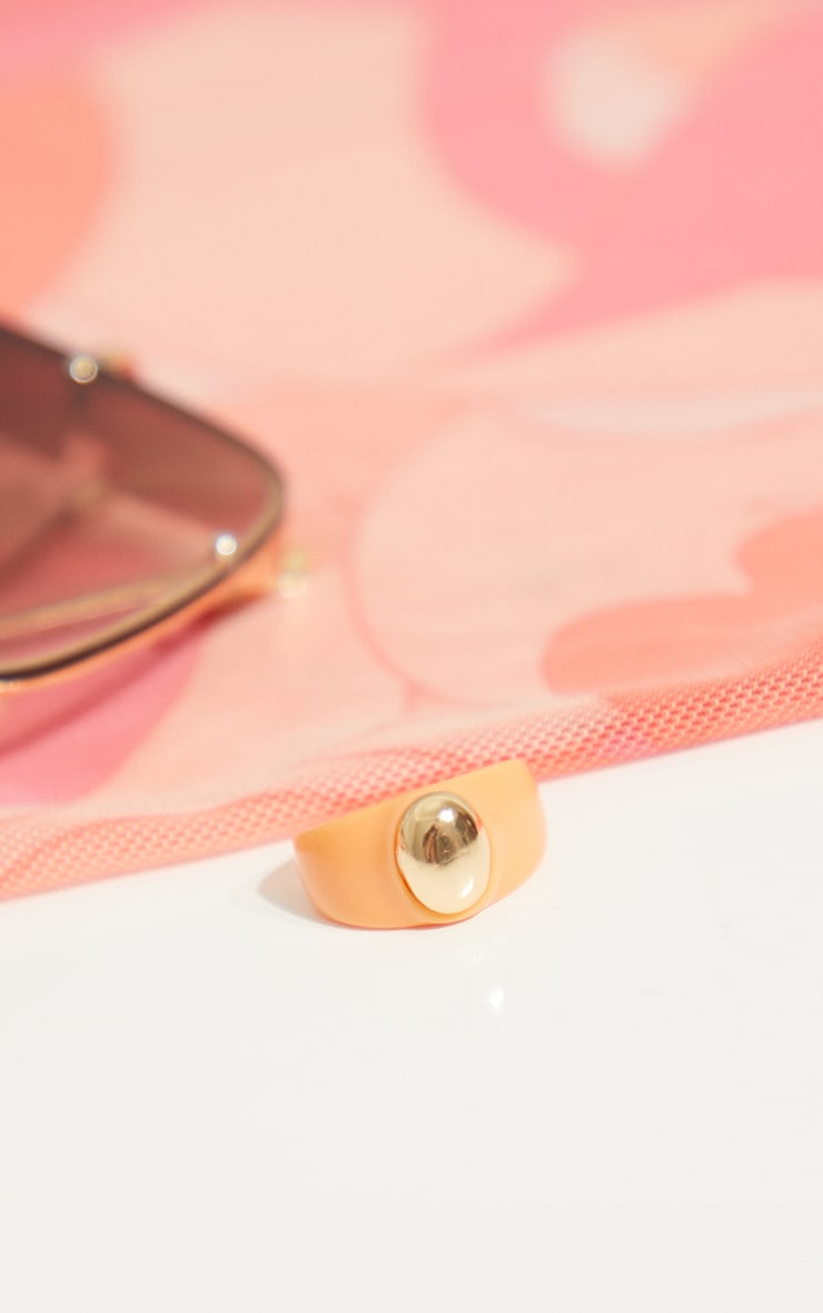 Orange Resin Gold Ball Ring 1