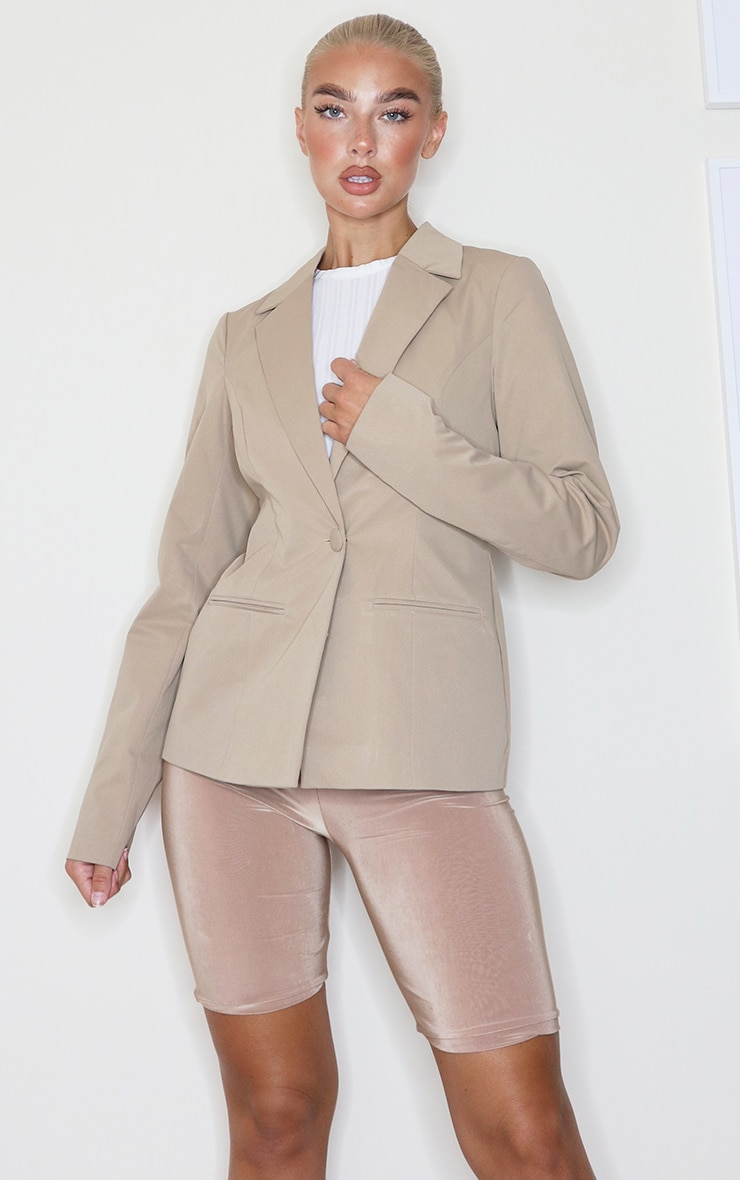 Camel Structured Cinched Waist Pocket Front Blazer 3