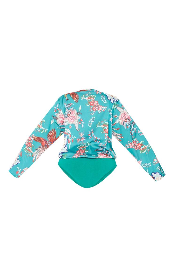 Plus Green Floral Wrap Bodysuit 4