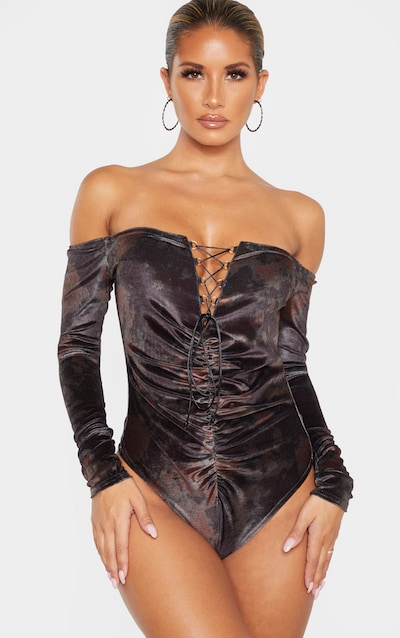 Khaki Velvet Tie Dye Lace up Ruched Bardot Bodysuit