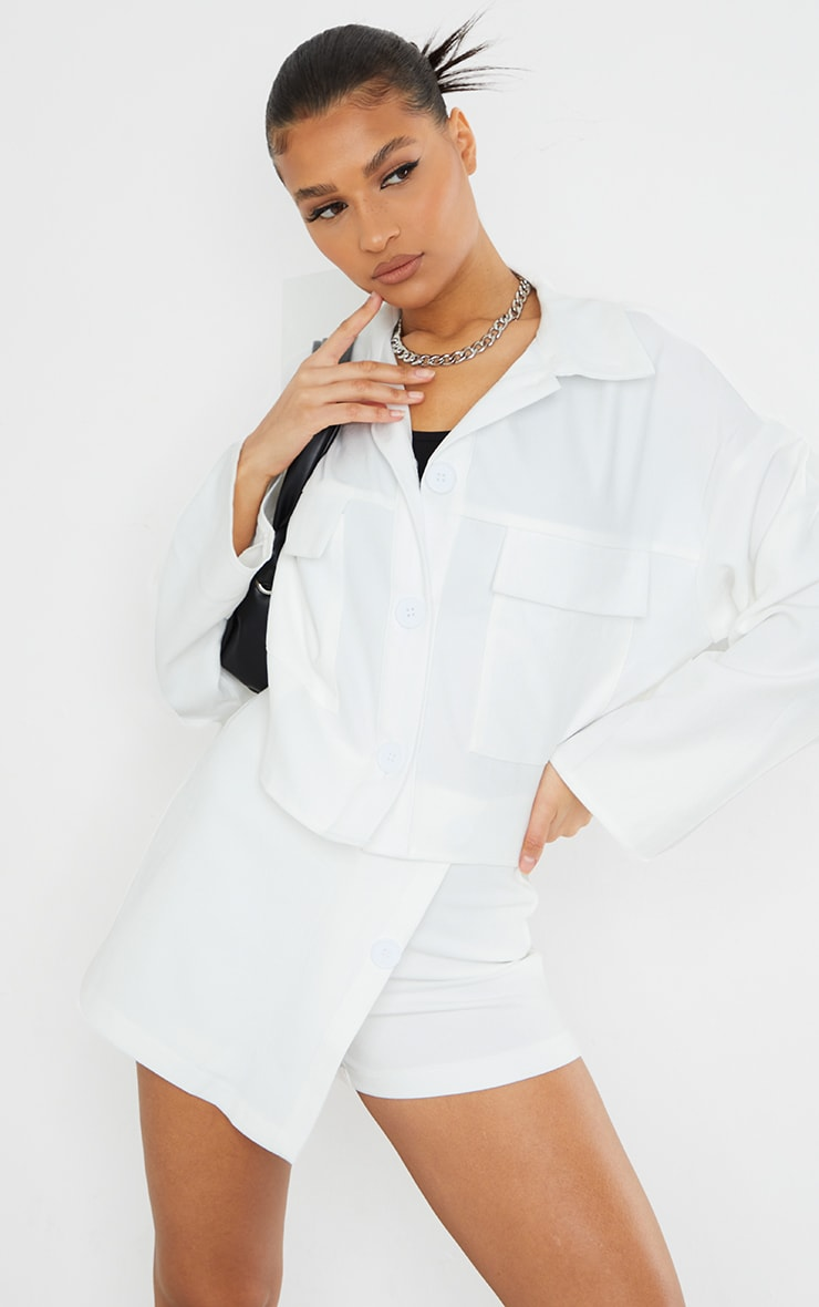 White Cord Detail Button Front Cropped Jacket