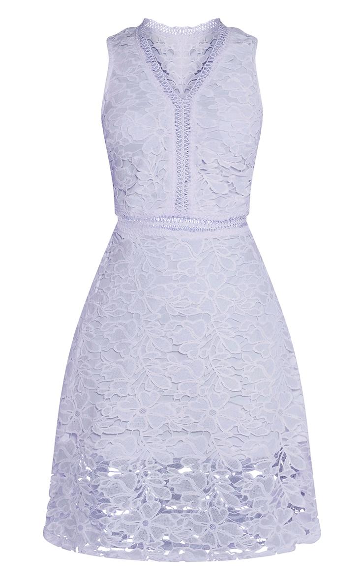 Roxy robe midi bleu pâle en dentelle crochetée 3