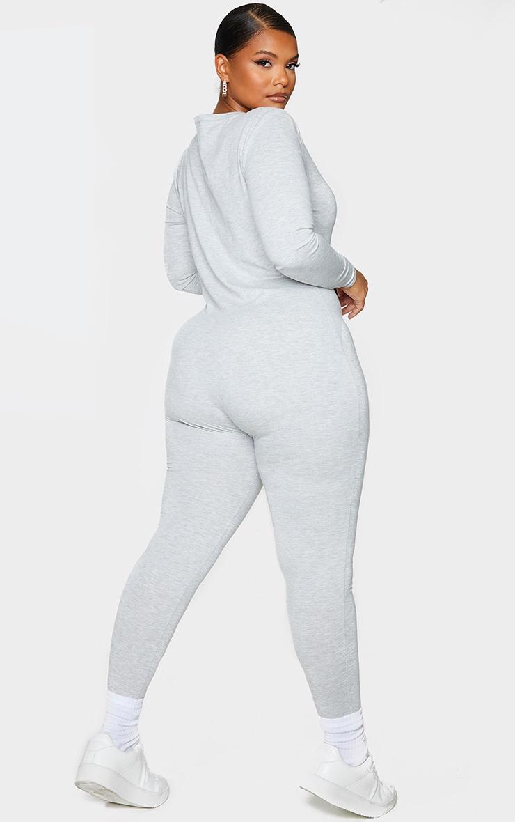 Plus Grey Seamless Cotton Elastane V Neck Jumpsuit 2