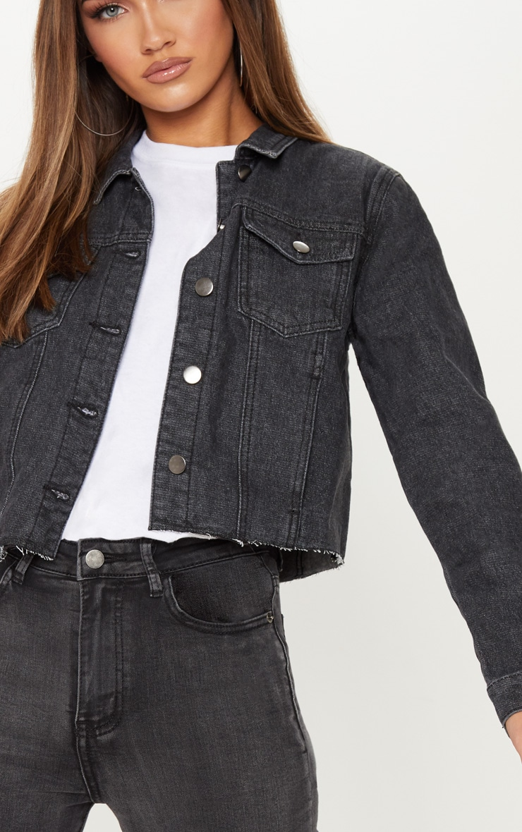Washed Black Cropped Denim Jacket 5